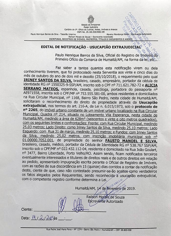 Edital de Notificação - Usucapião Extrajudicial - Primeiro Ofício da Comarca de Humaitá