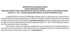 Concurso da PRF é suspenso por decisão da Justiça do Ceará