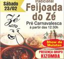 Tradicional Feijoada do Zé - Pré Carnavalesca é neste sábado