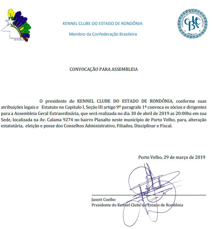 Kennel Clube do Estado de Rondônia - Convocação para Assembleia