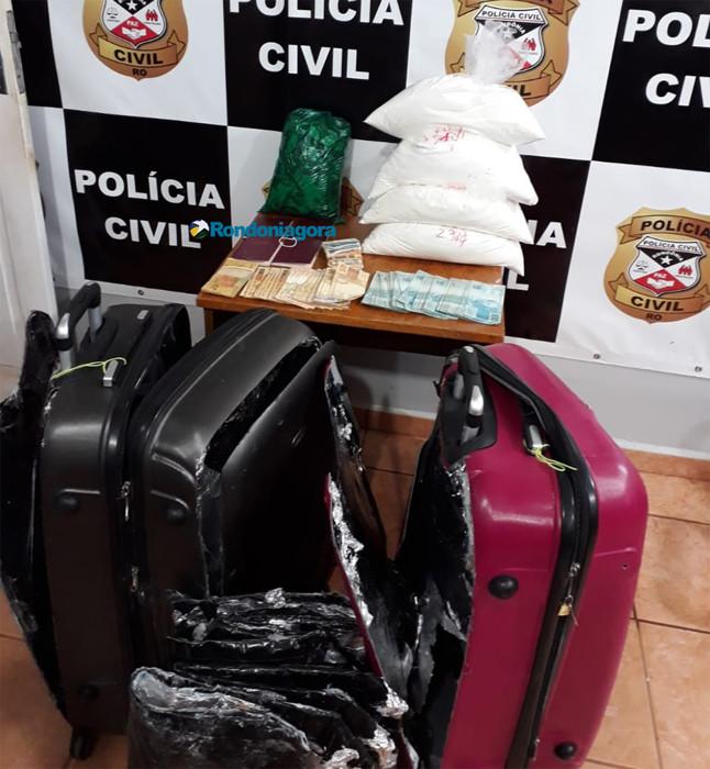 Bolivianos que viajariam para a Espanha são presos com 12 quilos de cocaína após ação da Polícia Civil