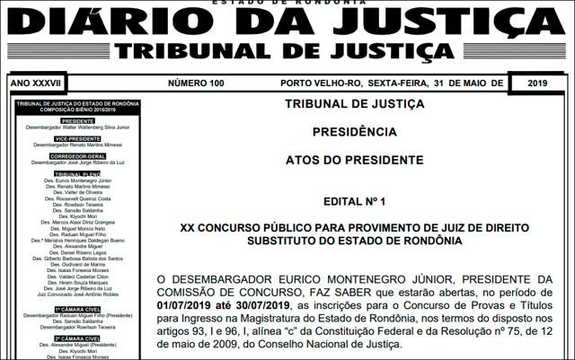 Resultado de imagem para Tribunal de Justiça de Rondônia publica edital de concurso com salários de R$ 28.884,20