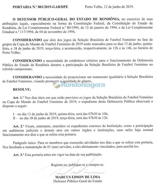 Defensoria Pública de Rondônia altera horário de funcionamento em razão dos jogos da Seleção Feminina