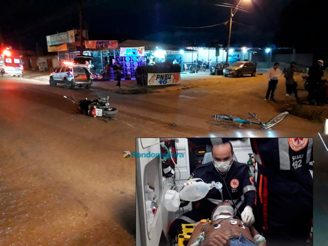 Ciclista fica gravemente ferido em acidente com moto na Capital