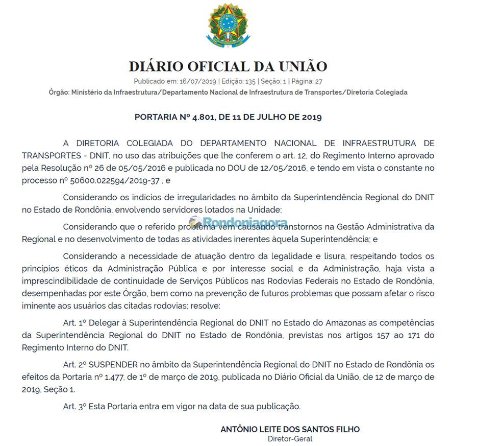 DNIT nacional transfere administração de Rondônia para o Amazonas após prisões por corrupção
