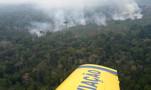 Vídeo mostra atuação de aeronaves durante incêndio em reserva indígena