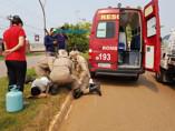 Acidente entre moto e caminhonete deixa feridos em Porto Velho