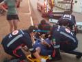 Ciclista tenta atravessar a Jorge Teixeira e acaba sendo atropelado por motociclista