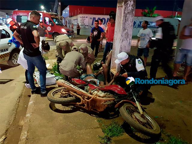 Grave acidente entre motos deixa três pessoas lesionadas na região sul