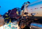 Vídeo: Colisão entre caminhão e carreta mata motorista e deixa BR-319 interditada