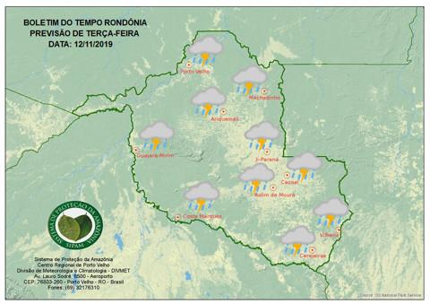Sipam prevê chuva em todas as regiões de Rondônia nesta terça