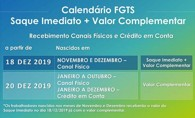 Caixa libera valor complementar do saque do FGTS a partir de 20 de dezembro