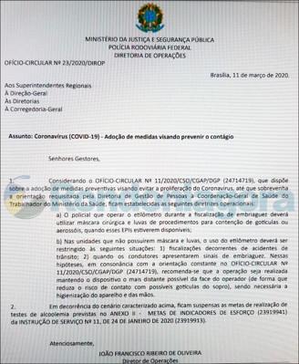 Coronavírus: Detran suspende a Lei Seca e PRFs devem usar máscaras e luvas