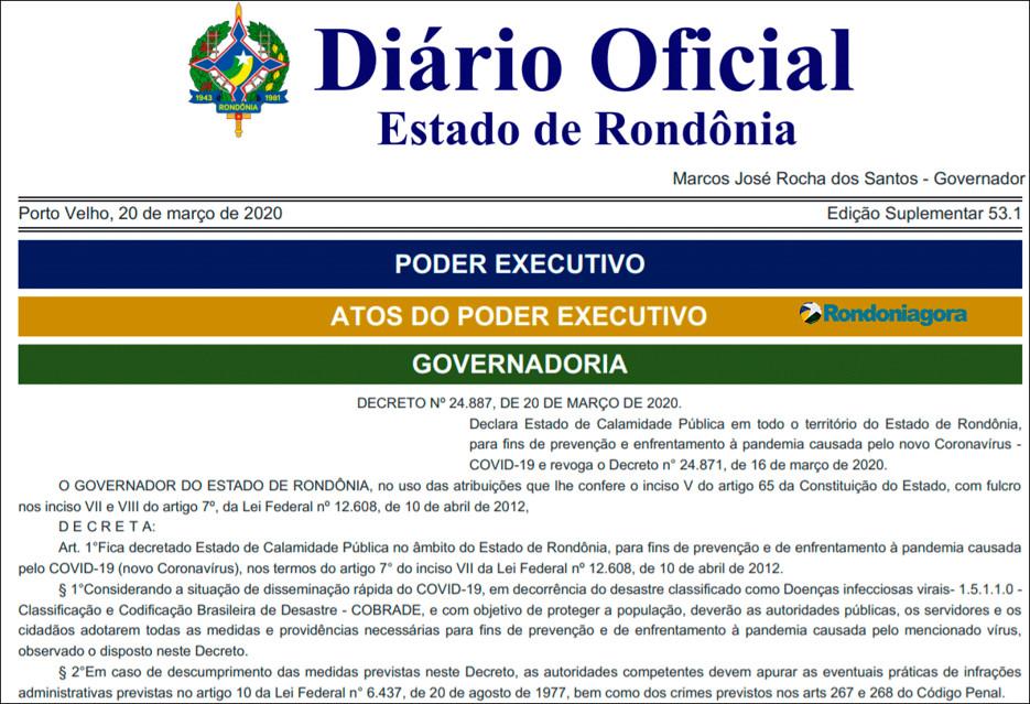 Só serviços essenciais devem funcionar em Rondônia a partir deste sábado