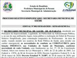 Coronavírus: Ji-Paraná abre seleção para contratação de 50 técnicos