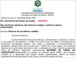 Governo dá 48 horas para que 112 servidores cedidos retornem para a Sesau; veja lista