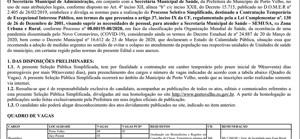Prefeitura abre processo seletivo para contratar mais de 270 profissionais; veja edital