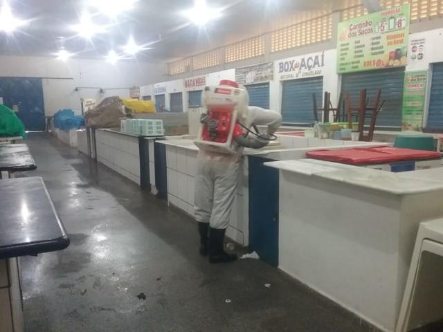 Prefeitura de Porto Velho realiza nova desinfecção do Mercado do Km 1