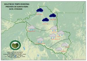 Sipam diz que frente fria ameniza temperaturas em Rondônia a partir desta quinta