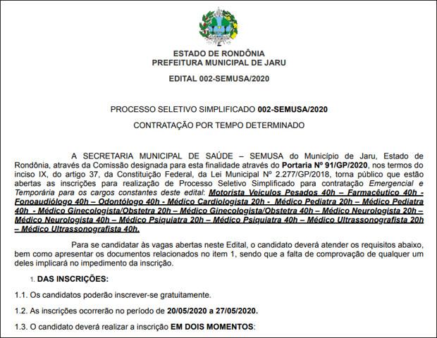 Jaru abre seleção para contratação temporária de profissionais para níveis fundamental e superior
