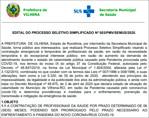 Prefeitura de Vilhena abre seleção para contratação de 90 profissionais de Saúde