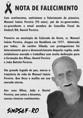Nota de pesar do Sindsef pelo falecimento do senhor Manoel Inácio Pereira