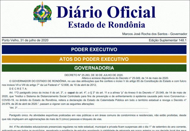 Novo decreto mantém suspensão de aulas presenciais até o dia 1º de setembro