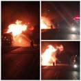 Caminhão pega fogo na BR-364 e deixa trânsito em meia pista durante madrugada
