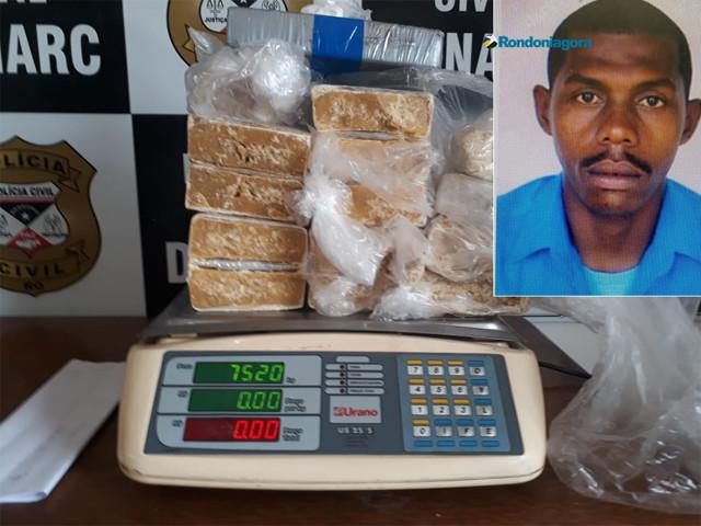 Foragido da Bahia é preso em Porto Velho com droga avaliada em R$ 200 mil