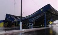 Cobertura metálica da PRF em Vilhena desaba durante temporal