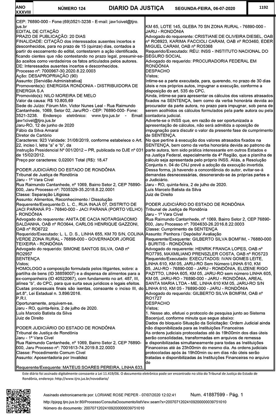 Edital de citação de Interessados ausentes incertos e desconhecidos – Processo 7000967-30.2020.8.22.0003