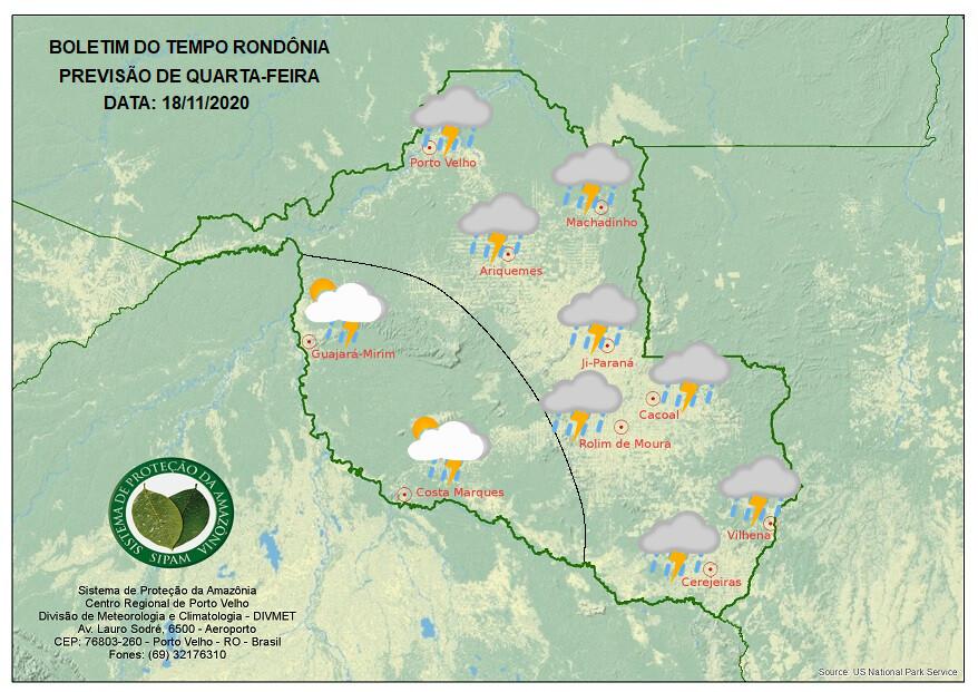 Quarta-feira terá tempo nublado e chuvas em Rondônia