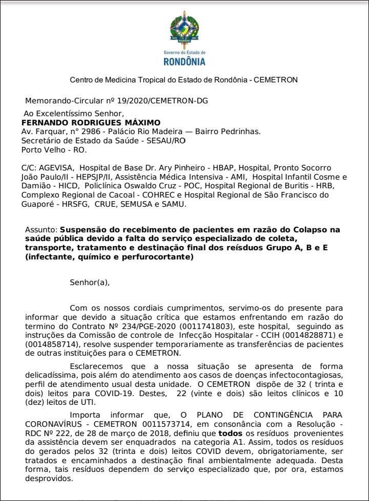 Cemetron deixa de receber pacientes em meio a pandemia devido ao caos do lixo hospitalar