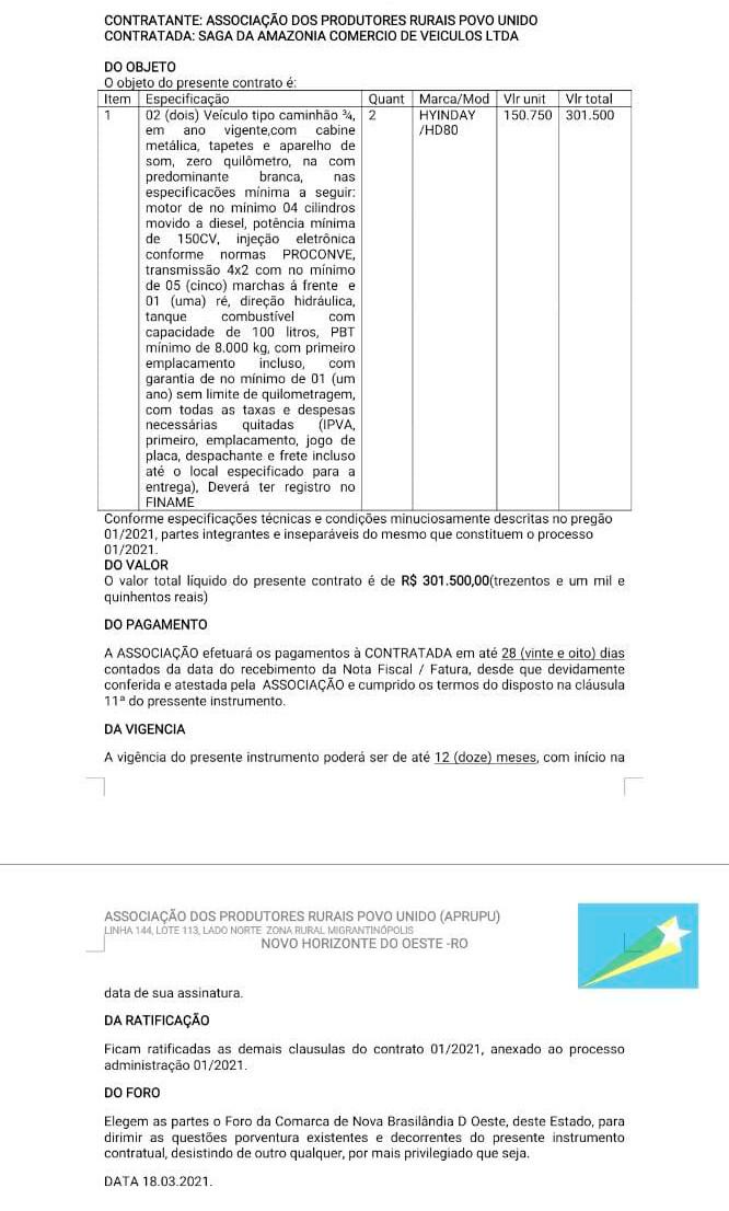 Associação dos Produtores Rurais Povo Unido – Extrato de Contrato - 01/2021 / APRUPU