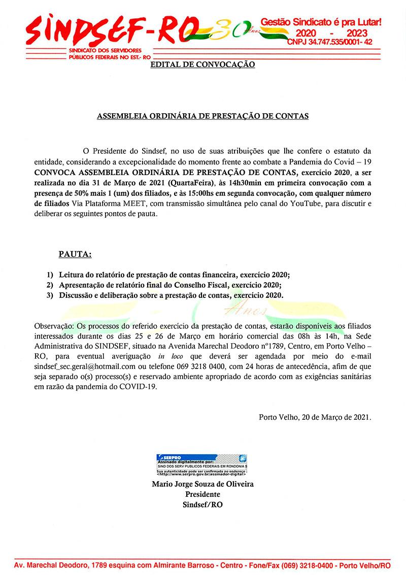 Sindsef-RO Edital de Convocação de Assembleia Ordinária de Prestação de Contas