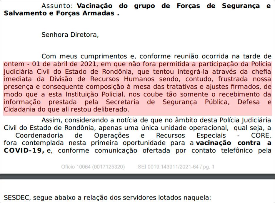 Linha de frente da Polícia Civil fica fora da 1ª etapa de vacinação em Rondônia; instituição foi excluída de reunião