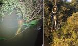Policiais militares salvam motociclista que caiu em rio