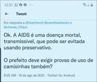Nas redes sociais, internauta compara Covid com Aids, e critica decreto obrigando vacinação dos servidores