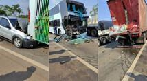 Acidente entre Fiat Strada, caminhão e ônibus deixa seis feridos em Pimenta Bueno